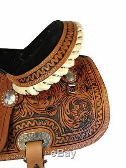 Western Silla De Montar Caballo 15 16 Barrel Racing Tooled Leather Horse Saddle