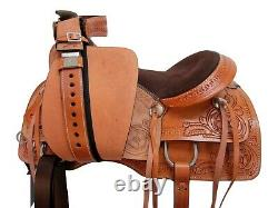 Western Trail Saddle 15 16 17 Pleasure Horse Floral Tooled Brown Leather Tack