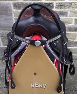 Windsor Brown Leather Western Saddle With Bridle Navaro Saddle Blanket & Cinch