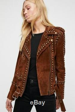 Woman Handmade Brown American Western Were Golden Studded Suede Leather Jacket