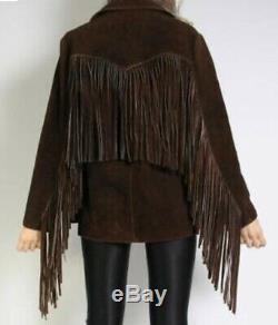 Women Vintage Brown Suede Leather Jacket Ladies Native Fringe Western Wear Coat