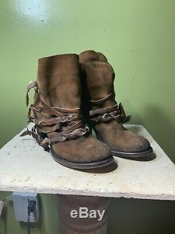 Women's Freebird Cairo Brown Cowhide Leather Braided Boots size 9 Distressed