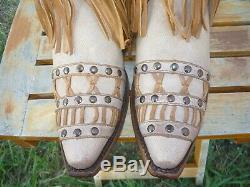 Women's NIB 8.5 M Corral Tan Fringed Layers & Studs Cowboy Fashion Boots C2988