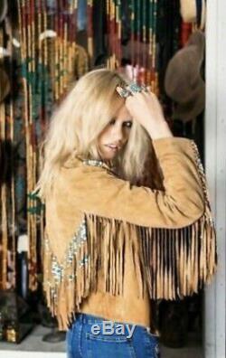 Women's New Tan Suede Leather Jacket Native Beaded & Fringes Western Wear Coat