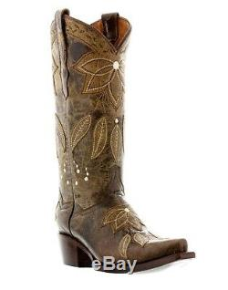 Womens Brown Flower Western Leather Cowgirl Boots Summer Leaves Snip Toe
