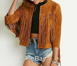 Womens Brown Suede Leather Jacket Fringe Native American Western Style Cowboy