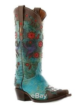 Womens Brown Turquoise Robin Western Leather Rodeo Cowgirl Cowboy Boots Flowers