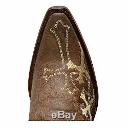 Womens Corral Circle G Western Boots Brown/Beige Side Cross L5038
