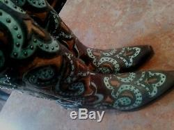 Womens Lane Paulina Brown & Turquoise Studded Western Boots / Size 7.5