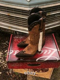Womens Lucchese Western Wingtip Boot Size 9 Brown/Tan Sexy
