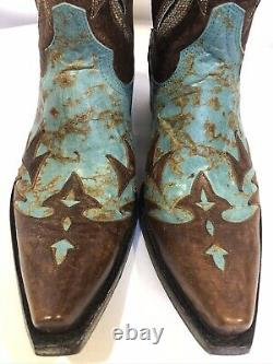 Yippee Ki Yay by Old Gringo Brown/Turquoise Leather Western Cowgirl Boots Sz 8.5