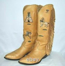 Zodiac vintage Frontier hand painted fringed boots Size 8 M