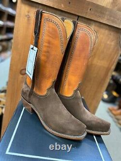 10.5 D Lucchese Sutton Chocolate Suede Cowboy Boots N1677.74 Hommes