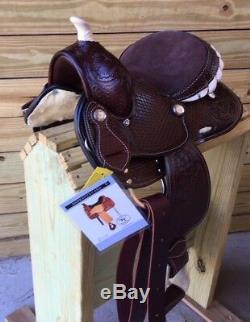 10 Cuir Western Jeunesse Selle Avec Plein Tooling Mini Miniature Cheval Poney