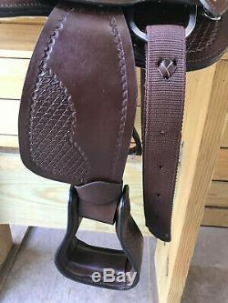 12 Brown Tooled Cuir Occidental Jeunes Selle Mini Cheval Miniature Poney 3249