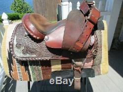 14 '' Billy Argent Royal Entretenu Western Voir Selle Équitation Qh Bars # 39111