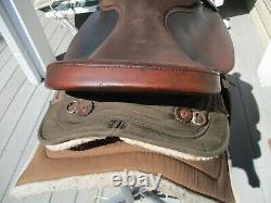 15 '' # 102 Brown Big Horn En Cuir Et Cordura Baril Ouest Qhb Selle De Piste