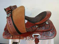 15 16 17 Trail Selle Cheval D'occasion Western Pleasure Tack Floral Tooled Set En Cuir