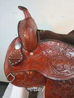 15 16 Barrel Occasion Selle Pleasure Horse Racing Tooled Set En Cuir Western Tack