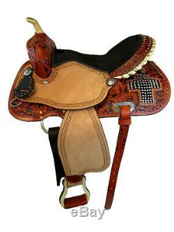 15 16 Barrel Racing Show Selle Western Pleasure Trail Cross Set Tack Pierres Précieuses