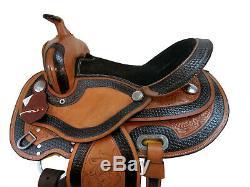 15 16 Gaited Selle Western Horse Trail Etonnamment Tooled Cuir Plaisir Tack