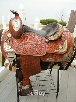 15 ' ' Congrès En Cuir Deux Tons D'argent Western Voir Selle Equitation Qh Bars