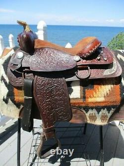 15'' Diamond L L Lookout Saddle Co. Western Tooled Baril Trail Selle Fqhb