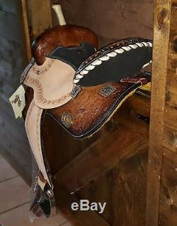 15 Selle Western Horse Avec Barrel Racer Conchos Pleine Qh Bars Med Oil 6556