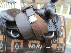 15'' Vntg Big Horn #506 Big Chief Thin Liner Ranch Western Saddle Fqh Bars