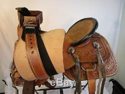 16 17 15 Utilisé Cuir Ouvragé Trail Pleasure Western Horse Ranch Roping Selle