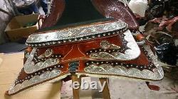 16.5'' Selle Occidentale Entièrement Outillée Show Saddle Avec Coin Argent Et Canchos