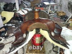 16'' Western Saddle Brown Leather Pleasure Style With Saddle Pad & Head Stall
