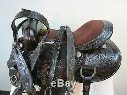 17 16 15 D'occasion Trail Foncé Selle Western Cheval Brun Tooled Leather Pleasure