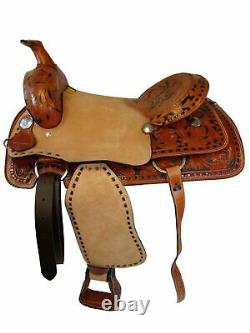 17 16 Roper Work Ranch Western Horse Roping Tooled Leather Deep Seat Saddle Set