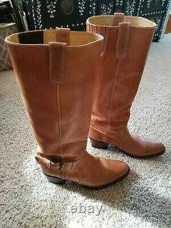 18 Tall Tan/brown Leather Sendra Men's Cowboy Boots Us Taille 9 Made In Spain