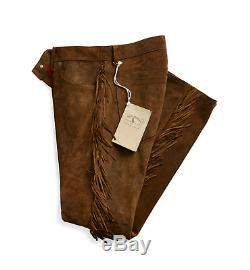1800 $ Double Ralph Lauren Rrl Brown Western Limited Edition Suede Pantalon En Cuir