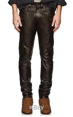 1800 $ Double Ralph Lauren Rrl Mens Slim Brown Western Pantalon Pantalon En Cuir Tn-o