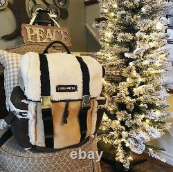 $2500 Dsquared2 Shearling Fur Indian Suede Leather Sac À Dos Italie Beige Brown