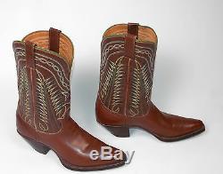 50 Tony Lama Cowboy Bottes Femme Sz 7.5b Excellente Vtg Brown Shorty Pee Wee