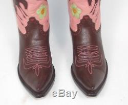 6.5b Amazing Bottes De Liberty Cowboy Wm Brown Rose Marqueté Bronc Rider Pee Wee