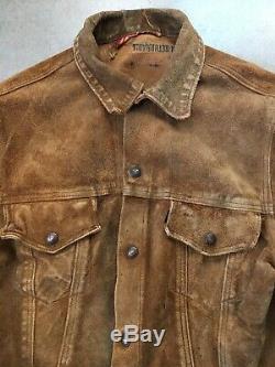 60s Vintage Levis Big E Suede Veste Doublée En Cuir Trucker Western Cowboy Brown