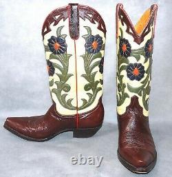 7 B Wow Old Gringo Bottes De Cowboy Acajou Crème Brune Vert Orange Fleurs Femmes