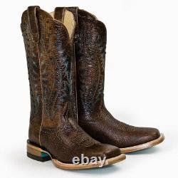 8b Bottes De Cow-boy D'ariat Pour Femmes Brown Montage Square Toe Western 10027365