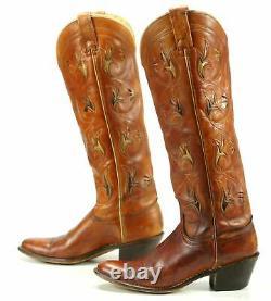 Acme Women's Vintage Knee High Tall Flower Inlay Cowboy Boots Boho Festival 6,5