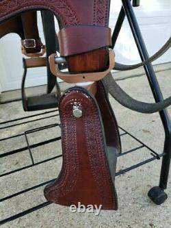 Amish Craftship Ed Steele Flex Tree Trail Western Saddle Taille Du Siège 16