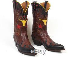 Ammons Brown Veau Peau Cowboy Bottes Wms 8b Vtg Marqueté Peewee Shorty Découpages