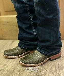 Anderson Bean Saddle Antique Hommes Autruche Et Tan Place Bottes Toe 320156