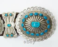 Antique Navajo Concho Nickel Belt Argent Turquoise En Cuir Brun Western Cowboy