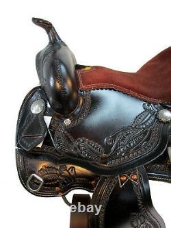 Arabian Horse Western Saddle 15 16 17 Plaisir Floral Tooled Leather Trail Tack