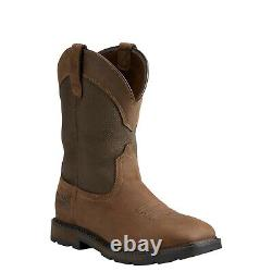 Ariat Men's Groundbreaker H2o Palm Brown Square Toe Pull-on Work Boots 10015812